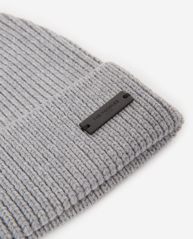 Braided wool grey beanie