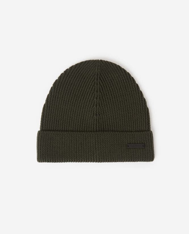 Braided wool khaki beanie