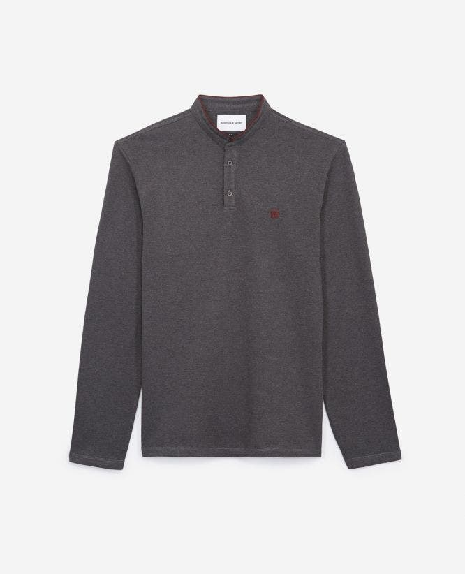 Slim-fit grey polo w/officer collar+slits