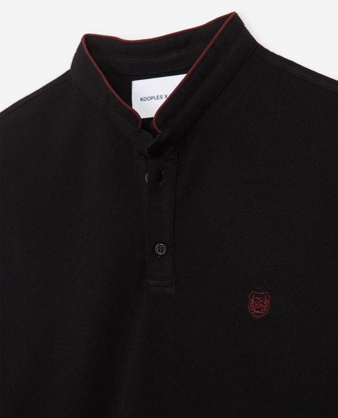 Black cotton polo w/officer collar+slits