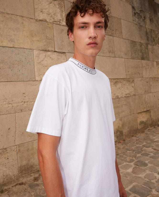 White cotton t-shirt with ribbed logo collar
