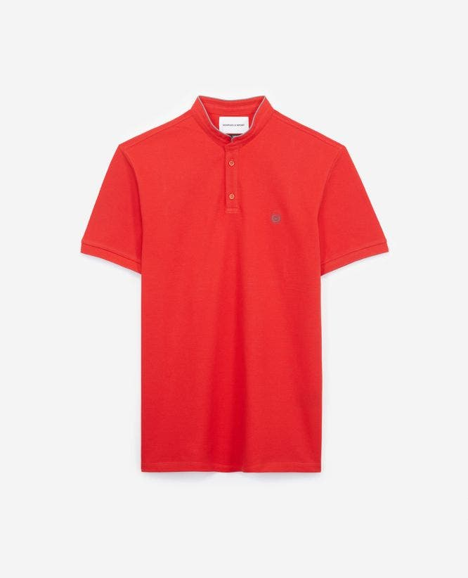 Slim-fit red polo, officer collar+slits