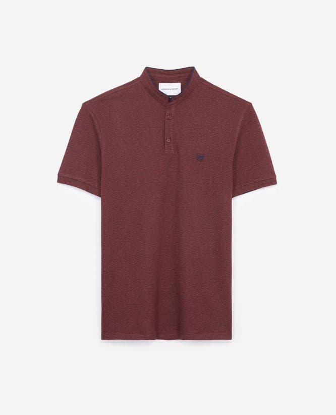Slim-fit burgundy polo officer collar+slits