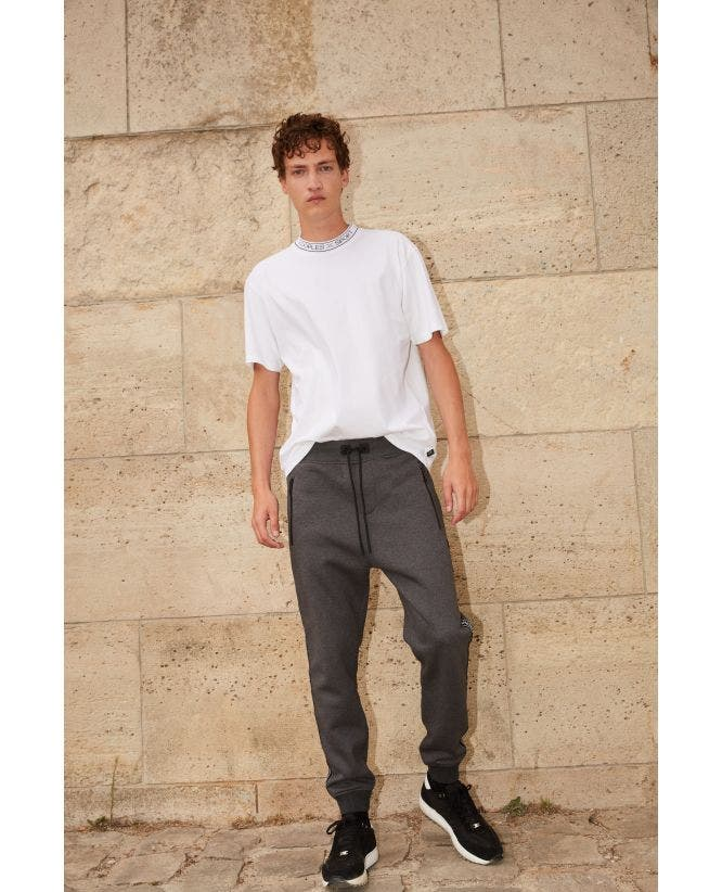 Grey joggers w/zips at bottom & side stripes