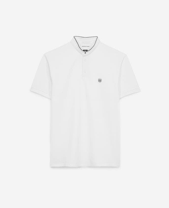 White officer collar cotton polo with piping