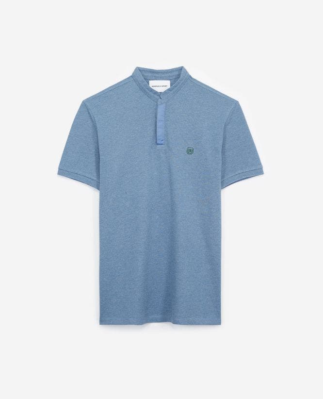 Blue cotton insignia polo with hidden buttons