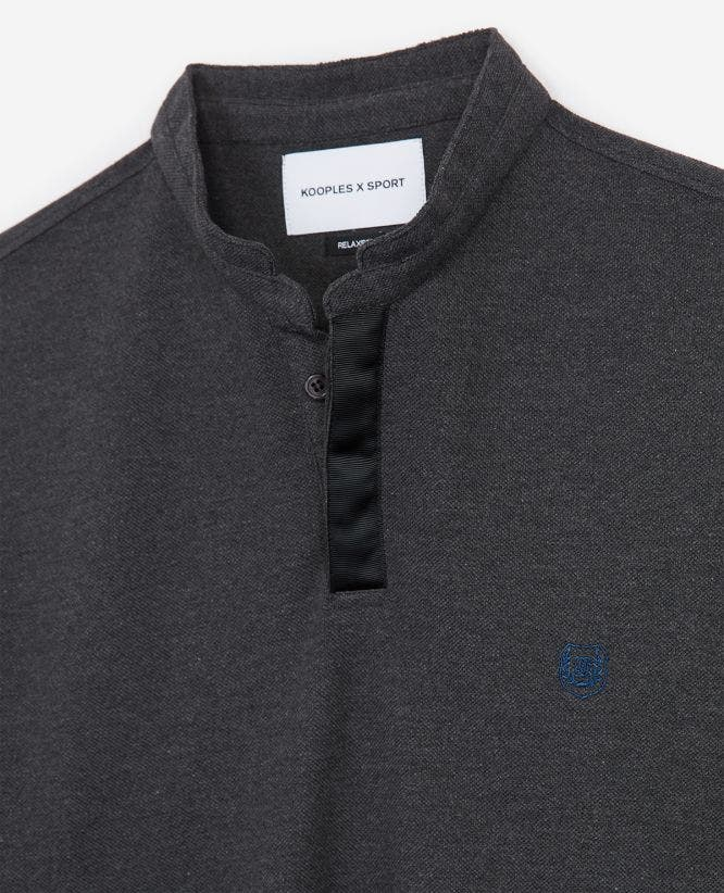Grey cotton insignia polo with side splits