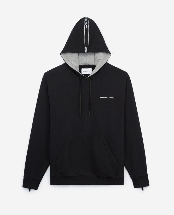 Black hoodie with logo stripe