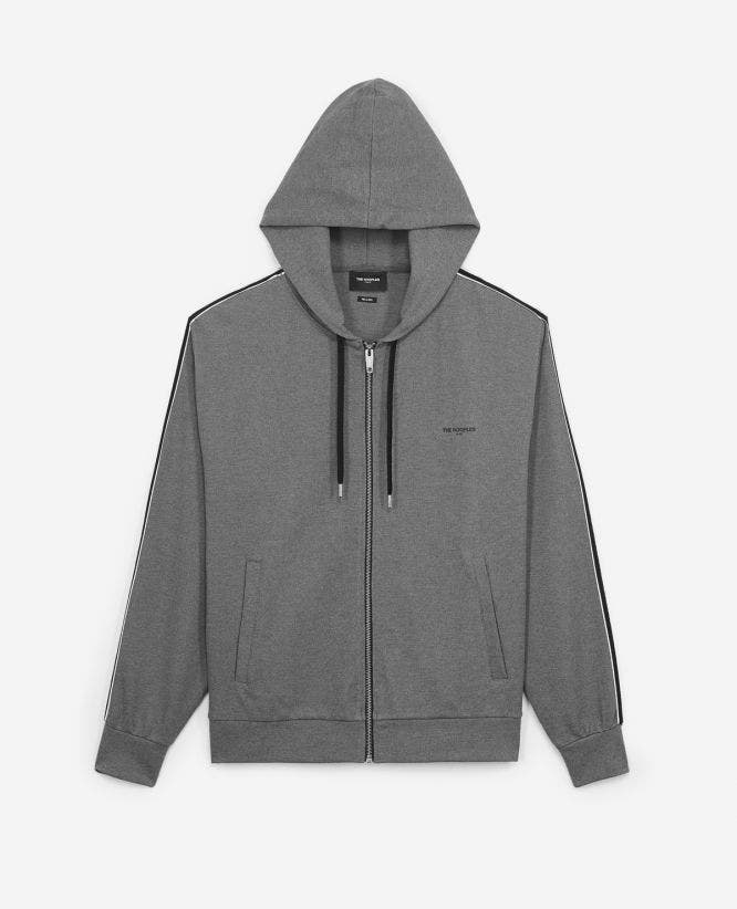 Hooded grey viscose zipped sweatshirt