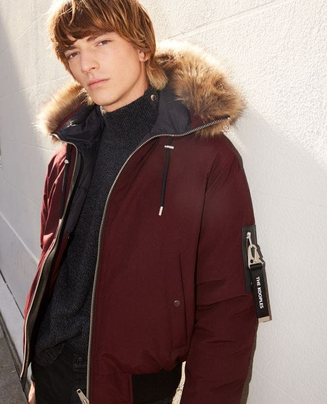 Cropped burgundy nylon down jacket with hood