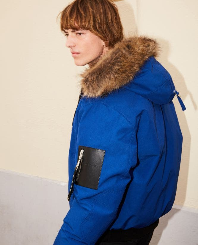 Cropped blue nylon down jacket with hood