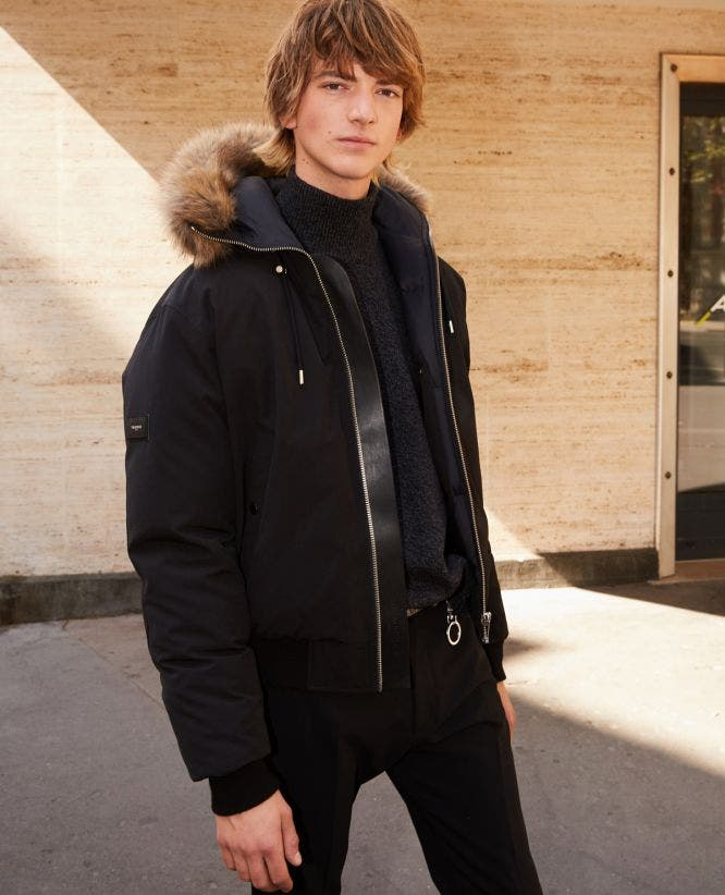 Cropped black nylon down jacket with hood