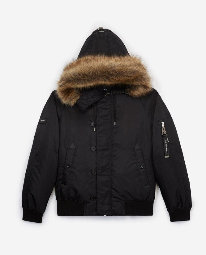 Hooded furry black down jacket