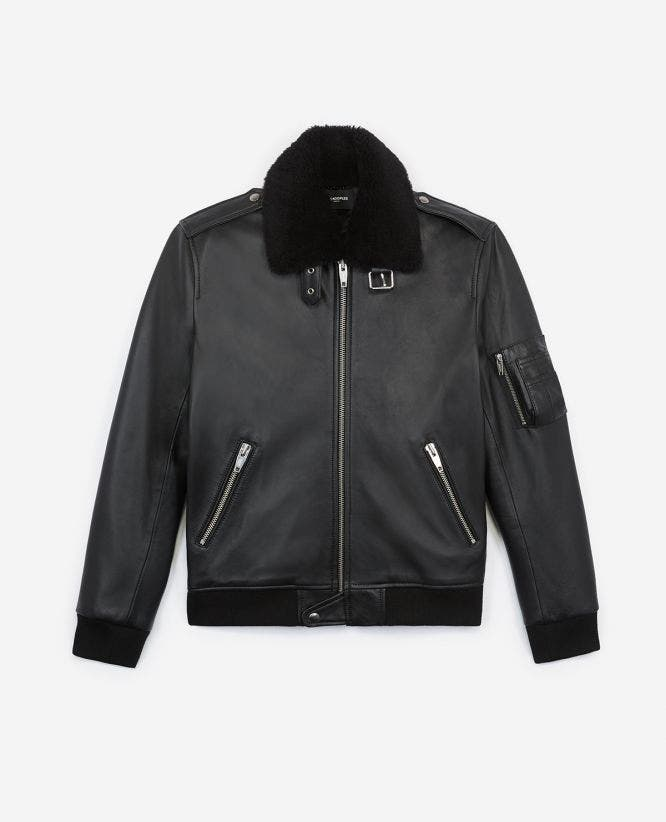 Black leather flight jacket w/shearling neck