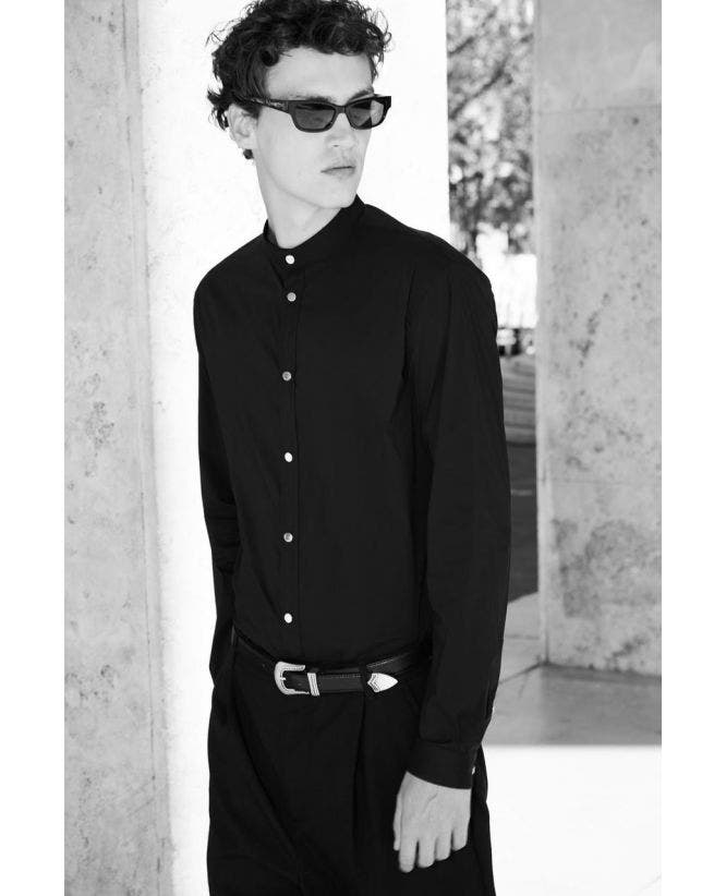 Formal black cotton shirt