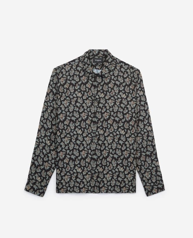 Blue printed classic-collar shirt