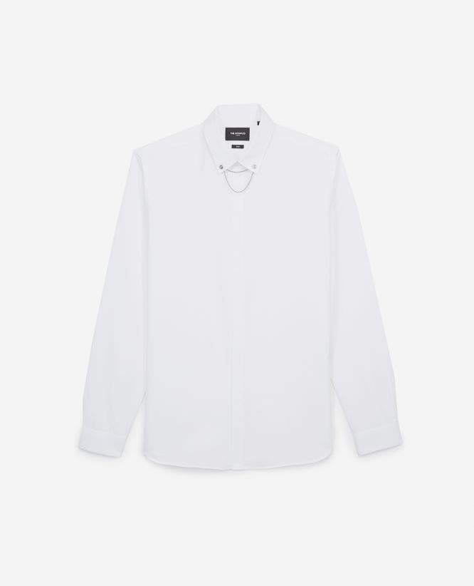 Slim-fitting white cotton shirt with jewel