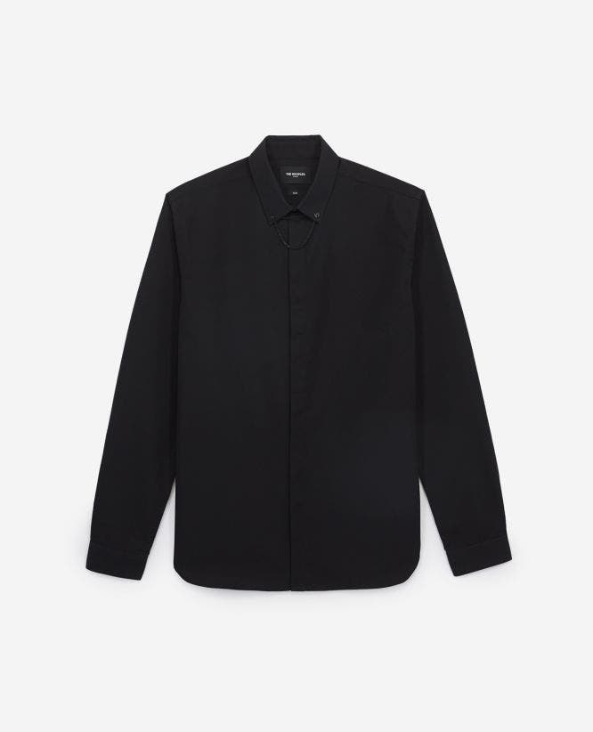 Slim-fitting black cotton shirt with jewel