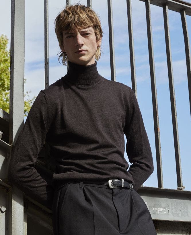 Leather detail brown roll-neck wool sweater