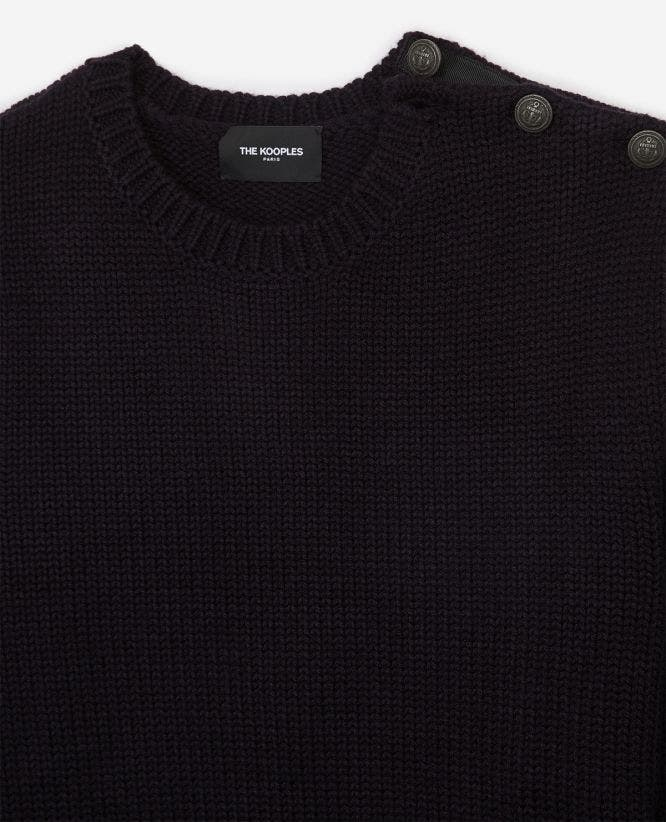 Round neck midnight blue wool blend sweater