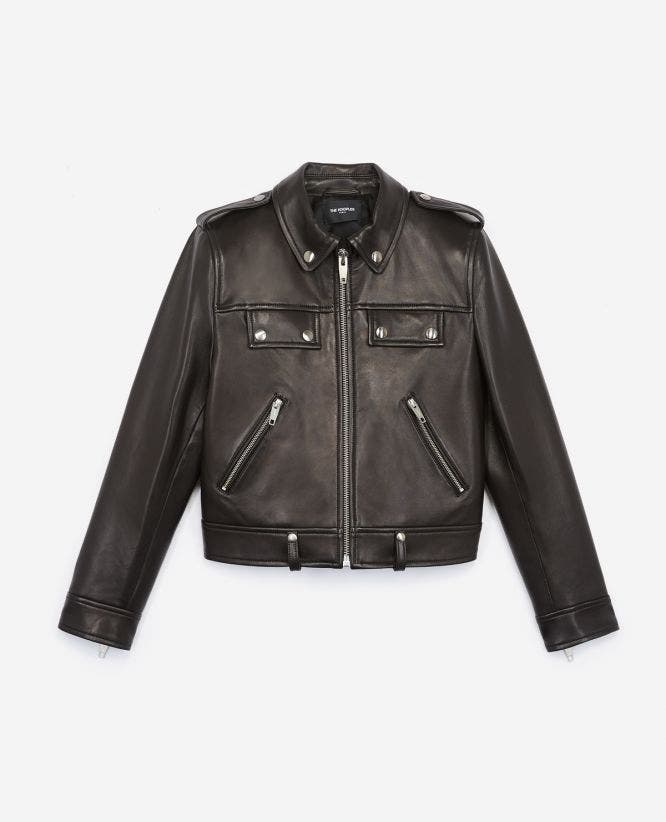 Black biker jacket with zip pockets