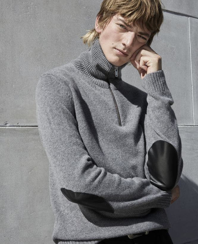 Formal grey sweater w/leather shoulder patch