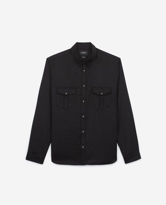 Black shirt for men with patch pockets
