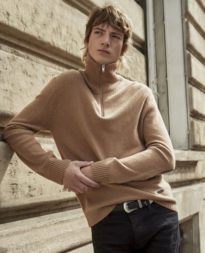 Camel zip wool sweater with leather yoke