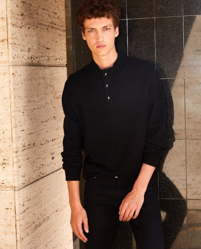 Black acrylic sweater with high neck