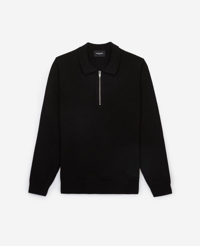 Black wool sweater with zipped polo collar
