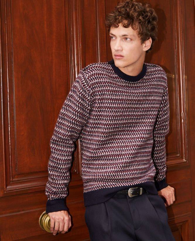 Red and blue jacquard wool sweater, crew neck