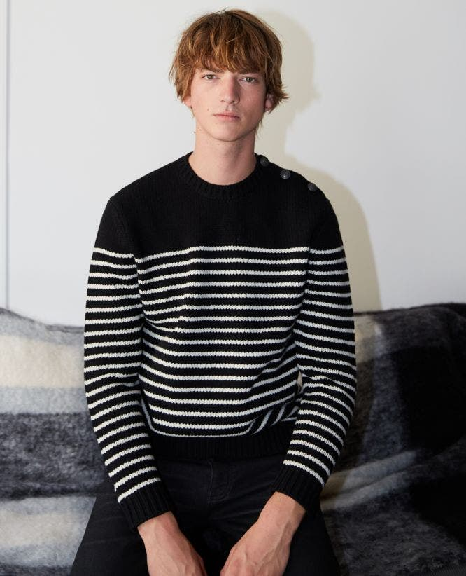 Black and ecru wool striped sweater