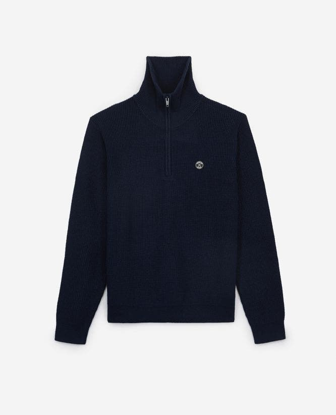Midnight blue merino wool sweater/chest badge