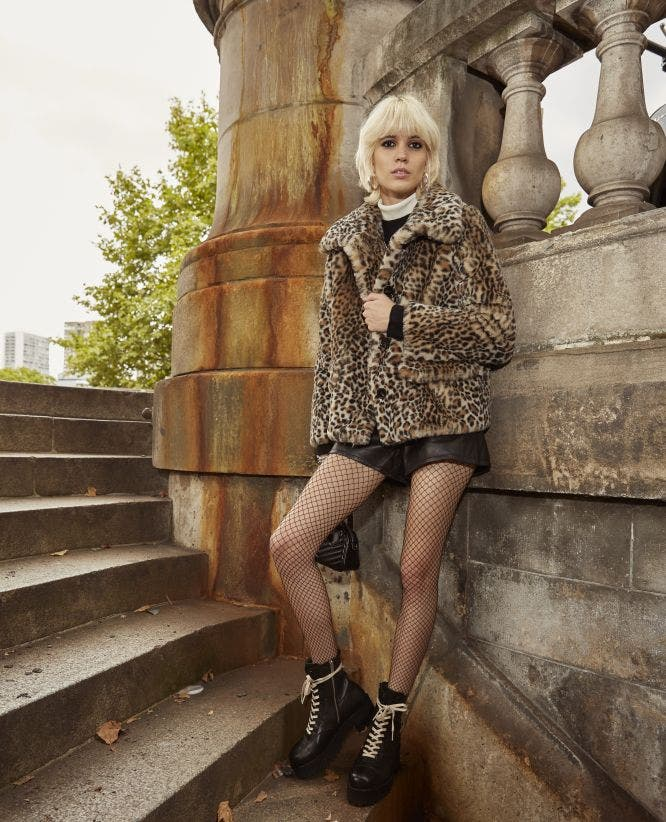 Leopard faux fur coat with XXL collar