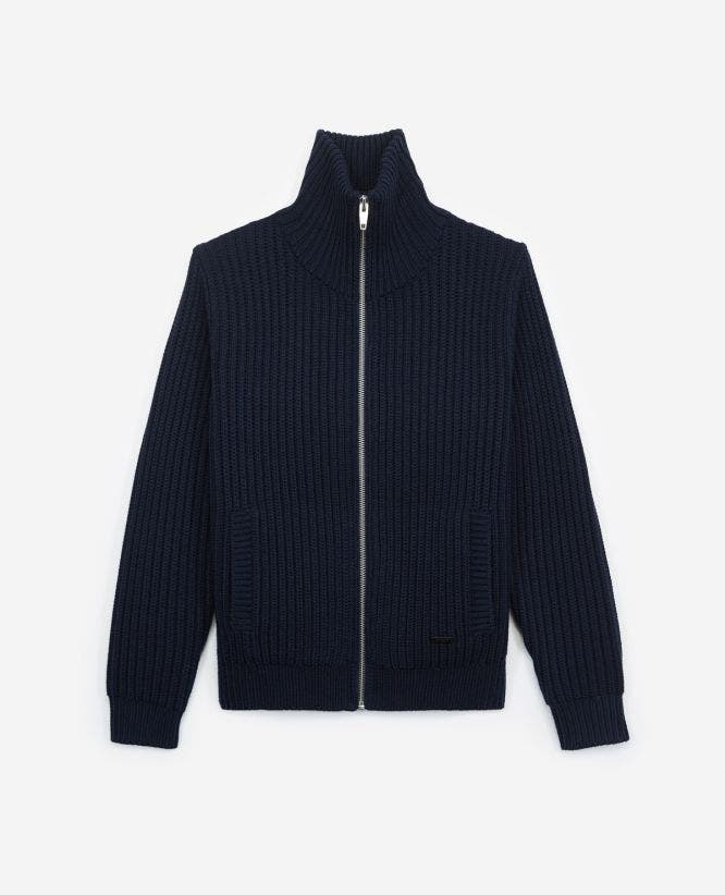 Zipped, chunky-knit blue wool cardigan