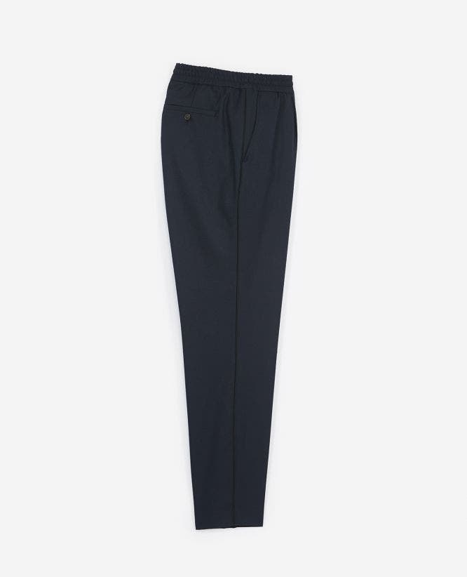 Blue wool suit trousers with piping