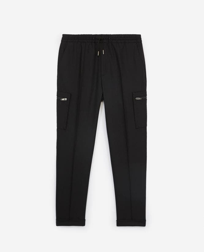 Black wool and polyester trousers w/turn-ups