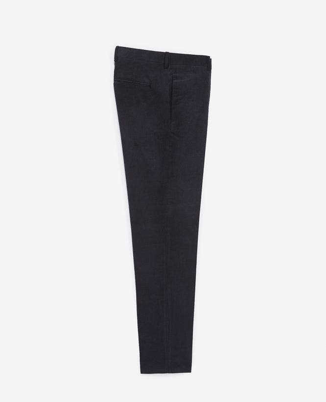 Slim midnight blue velvet trousers
