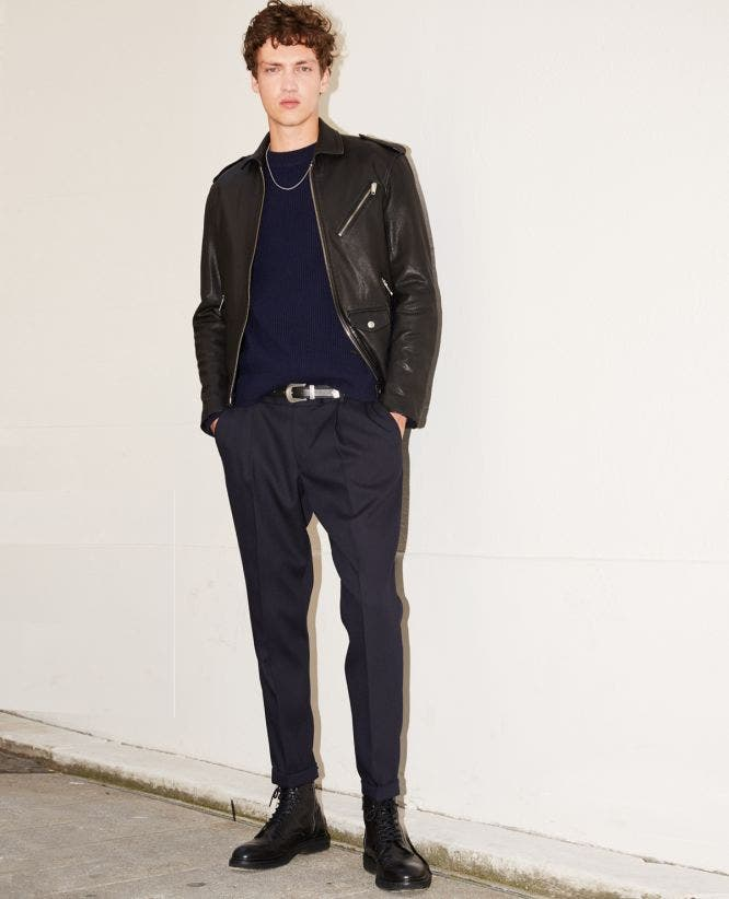 Midnight blue slim fit trousers with chain