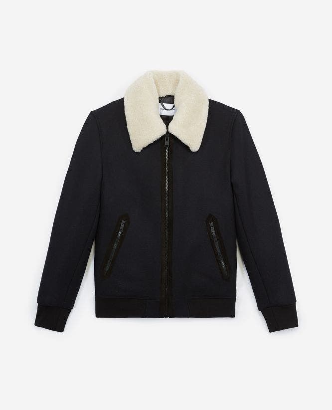 Blue zipped wool jacket with sheepskin collar