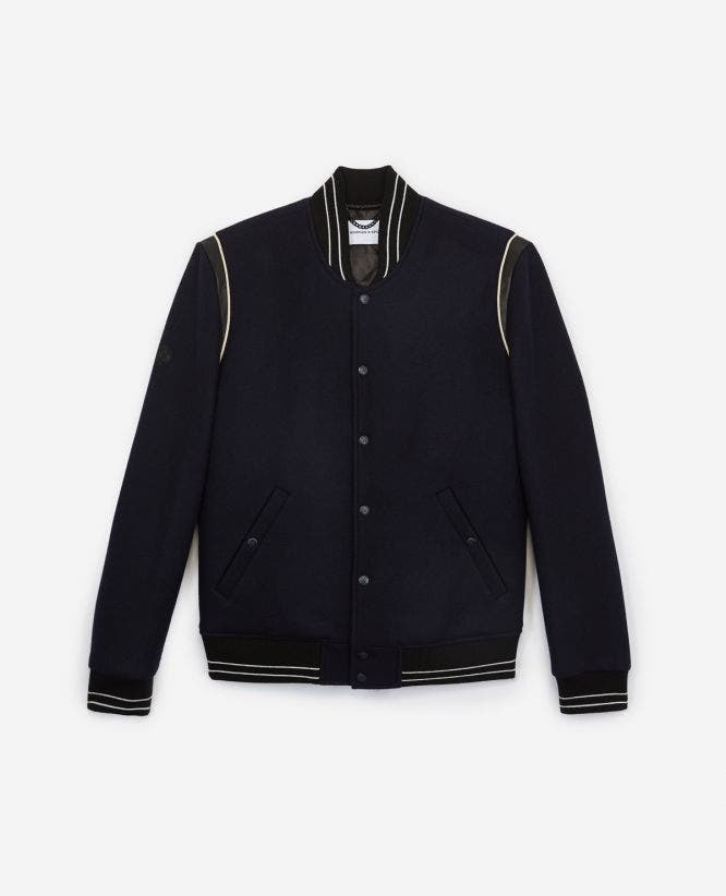 Blue wool ribbed trim bomber jacket