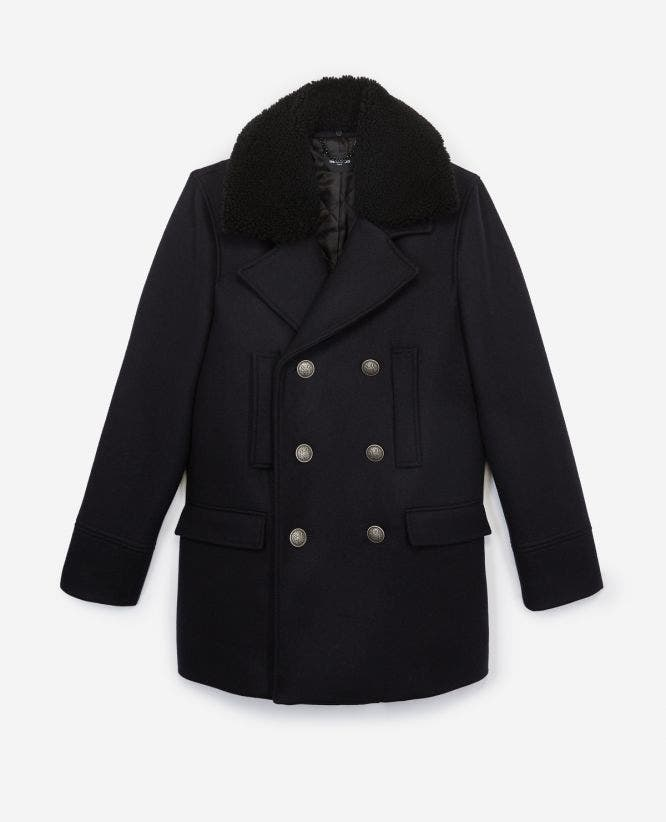 Leather collar midnight blue wool pea coat