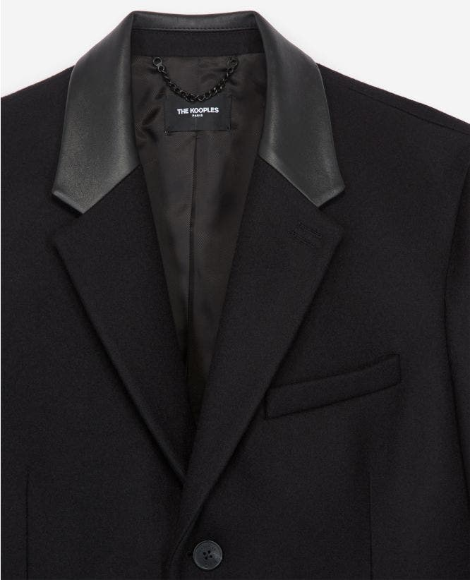 Long black wool coat w/leather lapel collar