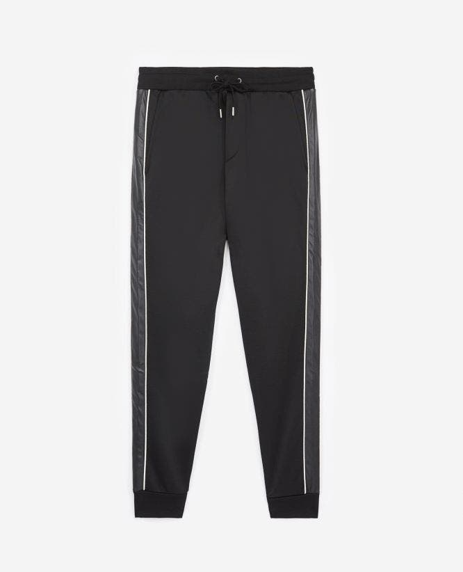 Black slim-fit joggers with elastic waist