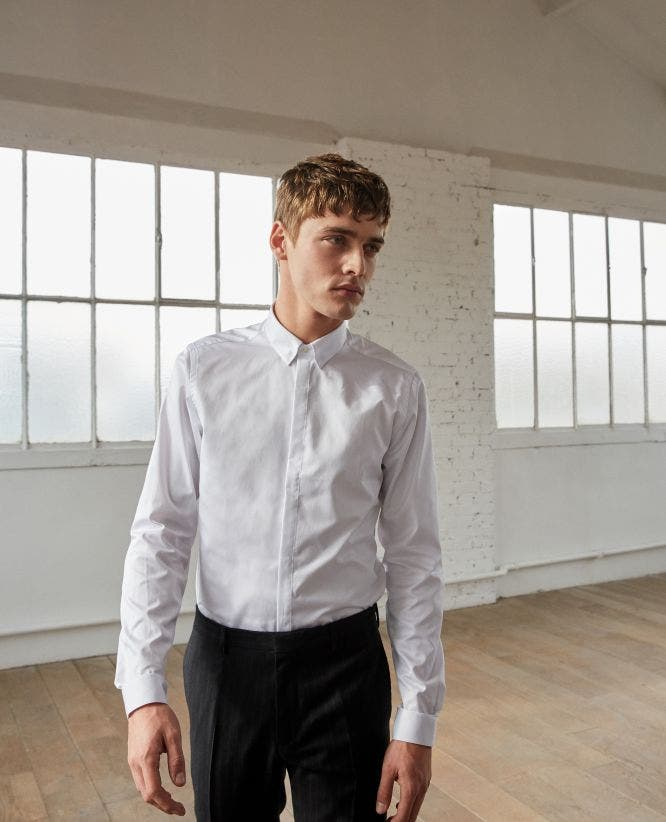 Plain Cotton Twill Shirt with a Concealed Button Placket