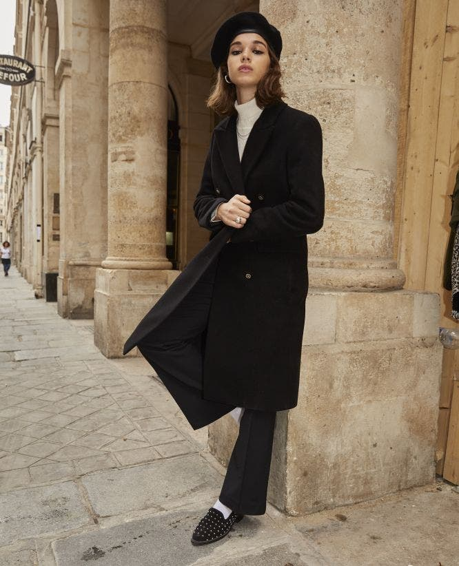 Double-breasted long black wool coat