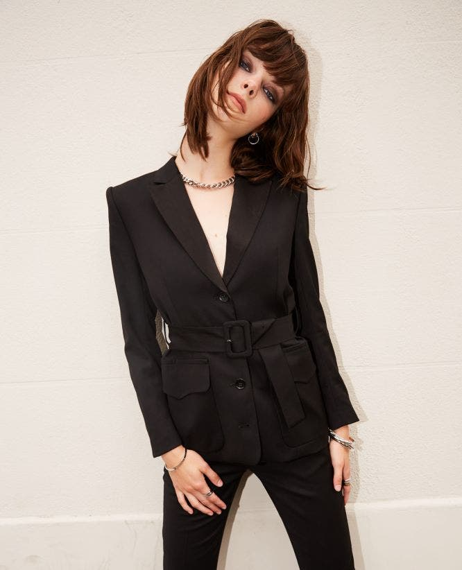 Black wool jacket with belt and satin lapels