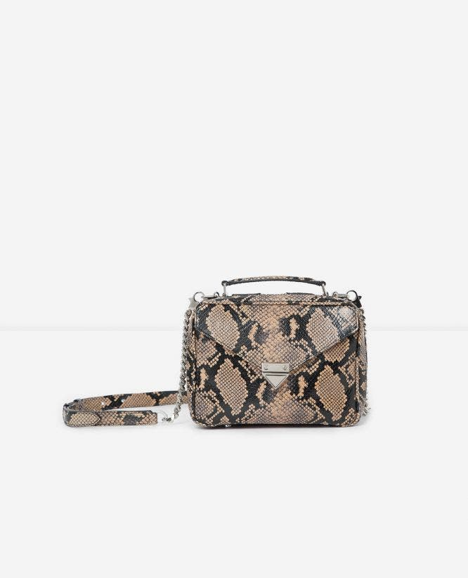 Medium beige Barbara bag in snakeskin leather