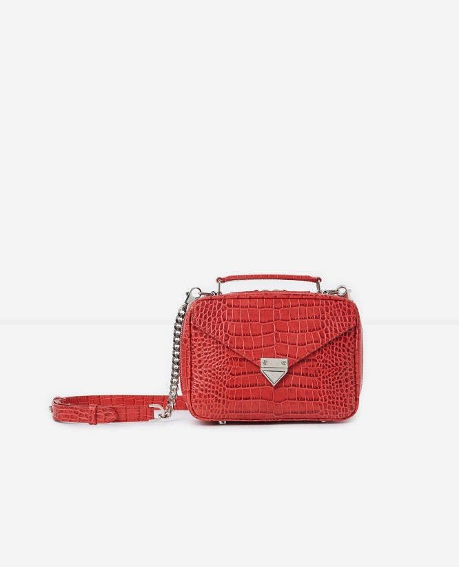 Sac Barbara medium rouge cuir façon crocodile