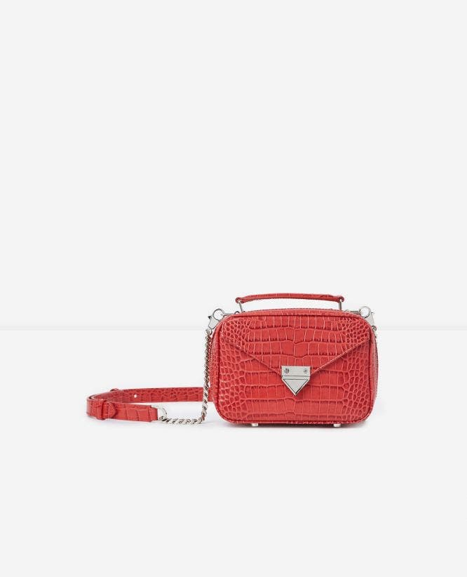 Mini red Barbara bag in crocodile leather